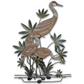 SAND HILL CRANES WALL SCULPTURE - WOOD & METAL WALL ART -  COASTAL DECOR