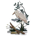 GREAT WHITE HERON WALL SCULPTURE - LEFT FACING - COASTAL WALL ART