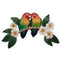 LOVEBIRDS & TROPICAL FLOWERS WALL SCULPTURE - TROPICAL WALL ART
