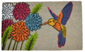 "HUMMINGBIRD IN THE GARDEN VINYL BACKED COIR DOORMAT - 18"" X 30"""