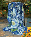 """BLUEBIRD IN THE GARDEN"" THROW BLANKET - 50"" X 60"" - BIRD & FLORAL THROW"