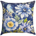 """BLUEBIRD IN THE GARDEN"" INDOOR OUTDOOR PILLOW - 18"" SQUARE - BIRD & FLORAL PILLOW"