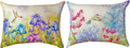 "HUMMINGBIRD & FLORAL REVERSIBLE INDOOR OUTDOOR PILLOW #1 - 18"" X 13"" OBLONG PILLOW"