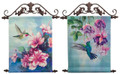 HUMMINGBIRD & FLORAL HANDPAINTED CANVAS WALL ART WITH HANGERS - SET OF TWO