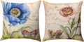 "POPPIES & BUTTERFLIES INDOOR OUTDOOR REVERSIBLE PILLOW #2 - 18"" SQUARE"