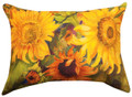 """SUNFLOWER GARDEN"" INDOOR OUTDOOR OBLONG PILLOW - 18"" X 13"" - FLORAL DECOR"