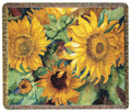 "SUNFLOWER GARDEN TAPESTRY THROW BLANKET - 50"" X 60"" - FLORAL THROW"