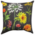 "FLOWER GARDEN INDOOR OUTDOOR PILLOW - 18"" SQUARE - FLORAL PILLOW"