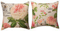 """OXFORD GARDEN"" REVERSIBLE FLORAL THROW PILLOW - 18"" SQUARE - FLORAL DECOR"