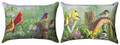 """BACKYARD BIRDS"" INDOOR OUTDOOR REVERSIBLE  PILLOW - 13"" X 18"" - OBLONG PILLOW"
