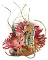 """SEAHORSE COVE"" METAL WALL SCULPTURE - SEA HORSE & CORAL - NAUTICAL  WALL DECOR"