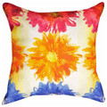 """FLOWER POWER"" INDOOR OUTDOOR THROW PILLOW - 18"" SQUARE - FLORAL DECOR"