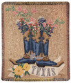 "TEXAS PRIDE TAPESTRY THROW BLANKET - 50"" X 60"" - BLUEBONNETS - BOOTS"