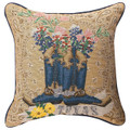 "TEXAS PRIDE TAPESTRY PILLOW - 17"" SQUARE - BOOTS - BLUEBONNETS"