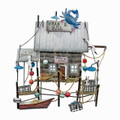 CRAB E BILL FISHING SHACK METAL WALL SCULPTURE - NAUTICAL DECOR