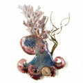 OCTOPUS WITH SEASHELLS METAL WALL SCULPTURE - NAUTICAL DECOR
