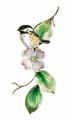 CHICKADEE ON DOGWOOD BRANCH METAL WALL SCULPTURE - WALL ART