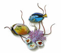 BUTTERFLYFISH & SURGEONFISH IN CORAL REEF METAL WALL SCULPTURE - NAUTICAL DECOR