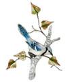 BLUE JAY IN BIRCH TREE METAL WALL SCULPTURE - WALL ART