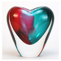 "MURANO GLASS HEART VASE - 7""H - AQUA/RUBY - ITALIAN ART GLASS"