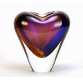 "MURANO GLASS HEART VASE - 7""H - TOPAZ / AMETHYST - ITALIAN ART GLASS"