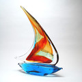"MURANO GLASS SAILBOAT - 14.5""H - NAUTICAL DECOR"