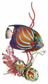 BLUE RING ANGELFISH WITH CORAL METAL WALL SCULPTURE - NAUTICAL WALL ART