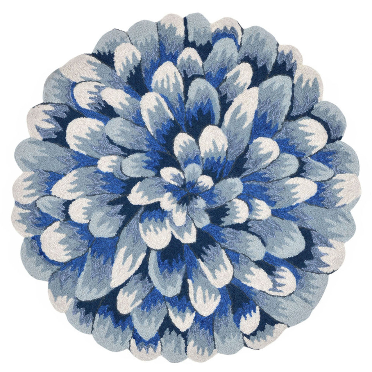 Area Rugs Blue Chrysanthemum Indoor Outdoor Rug 5 Round Rug Floral Decor