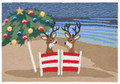 """RELAXING REINDEERS"" COASTAL CHRISTMAS RUG - 24"" x 36"" - INDOOR OUTDOOR RUG"
