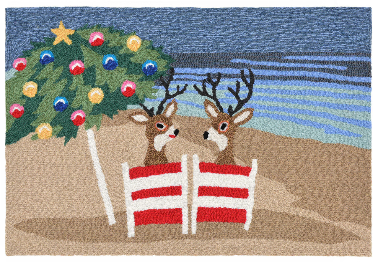 Relaxing Reindeers Coastal Christmas Rug 20 X 30 Indoor Outdoor Rug