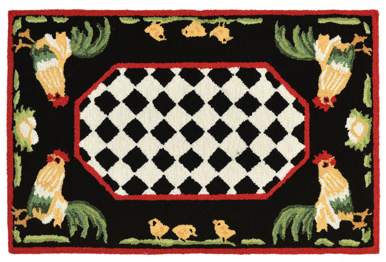 French Country Rooster Indoor Outdoor Rug Kensington Row Area Rugs