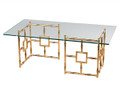"""BAMBOO GROVE"" GLASS TOP COFFEE TABLE - COCKTAIL TABLE - ANTIQUE GOLD FINISH"