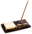"""""""WALL STREET"""" MARBLE PEN STAND & POST IT NOTE HOLDER - BULL AND BEAR"""
