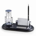 EXECUTIVE DESK ORGANIZER WITH SAND TIMER - PEN STAND - BUSINESS CARD HOLDER