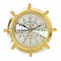 BRASS SHIPS WHEEL TIDE & TIME WALL CLOCK - NAUTICAL DECOR