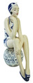 BATHING BEAUTY FIGURINE IN NAUTICAL BLUE & WHITE BATHING SUIT ON BEACH BALL - NAUTICAL DECOR