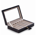 """""""EASTWICK"""" EIGHT PEN CASE WITH BROWN LEATHER TRIM - GLASS TOP"""