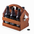 WOODEN BEER & BEVERAGE CARRIER WITH SIDE MOUNTED BOTTLE OPENER - NATURAL FINISH