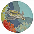 """TURTLE CREEK"" INDOOR OUTDOOR RUG - SEA TURTLE RUG - 5' ROUND"