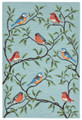 """COLORFUL SONGBIRDS"" INDOOR OUTDOOR RUG - BIRD RUG - 5' x 7'6"""