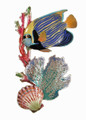 EMPEROR ANGELFISH WITH CORAL METAL WALL SCULPTURE - NAUTICAL WALL ART