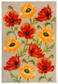 """POPPY FIELD"" INDOOR OUTDOOR RUG - 5' x 7'6"" - FLORAL RUG"