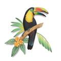 TROPICAL TOUCAN WALL SCULPTURE - ISLAND STYLE - TROPICAL DECOR