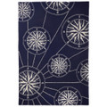 """MARINERS COMPASS"" INDOOR OUTDOOR RUG - 5' x 7'6"" - BLUE - NAUTICAL DECOR"