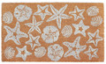 """COASTAL TREASURES"" VINYL BACK COIR DOORMAT - NATURAL - 18"" X 30"" - SEASHELLS & STARFISH"