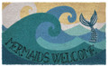 """MYTHICAL MERMAID"" VINYL BACK COIR WELCOME MAT - 18"" X 30"" - NAUTICAL DECOR"