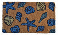 "SEASHELL COIR DOORMAT - 18"" x 30"" -  BEACH HOUSE WELCOME MAT - NAUTICAL DECOR"
