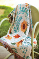 """SUNFLOWER & AUTUMN LEAVES"" TAPESTRY THROW BLANKET - 50"" X 60"""