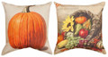 """SUNFLOWER CORNUCOPIA & PUMPKIN"" REVERSIBLE PILLOW - 18"" SQUARE"