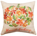 """AUTUMN LEAVES"" INDOOR OUTDOOR PUMPKIN PILLOW - 12"" SQUARE"
